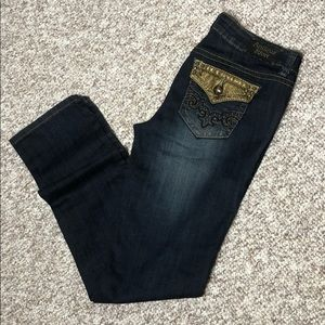 Antique Rivet Straight Leg gold embroidered jeans